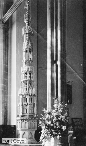 The font cover illustrated is in North Walsham Church.